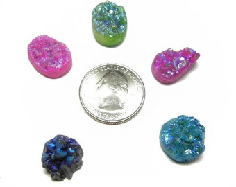 Lot of 5 Druzy Drusy Cabochon Cabs for Wire Wrap Jewelry - DZ57