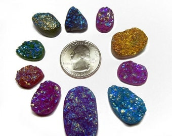 Lot of 10 Druzy Drusy Cabochon Cabs for Wire Wrap Jewelry - DZ60