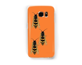 Art cell phone case WASPS iphone 5/5s, iphone 7 6/6s samsung galaxy s7 s6 s5 orange yellow jackets insects bees black bugs entomology color