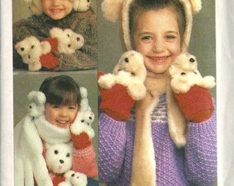 Simplicity 6669 Childs Novelty Bear Ear Muff Covers, Scarf, Hat, Mittens 80s Vintage Sewing Pattern Uncut