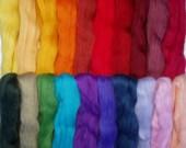 8.9oz /250g, 20 colours merino wool roving, felting wool, spinning fiber, needle felting wool, wet felting, dolls hair, lot no. 80