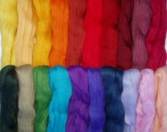 9oz, 20 colours merino wool roving, felting wool, spinning fiber, needle felting wool, wet felting, dolls hair, lot no. 80, 250g