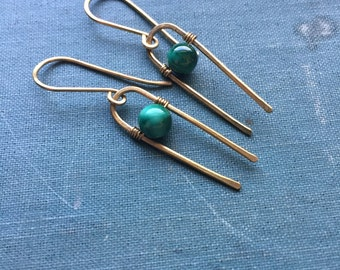 Modern Malachite Arc Earrings   Brass   Wire wrapped   Minimal   Rustic