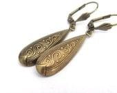 Art Deco Earrings, Dangle Earrings, Antiqued Gold Tone Earrings, Wedding Jewelry, Bridesmaid Jewelry, Art Nouveau Earrings