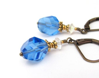 Vintage Crystal Earrings, Blue Earrings, Blue Crystal Earrings, Crystal Wedding, Vintage Swarovski Crystals, Dangle Drop, Boho Bohemian