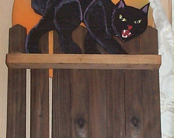 Fall Harvest Halloween Decoration Cedar Fence Cat Moon Handpainted Outside or In