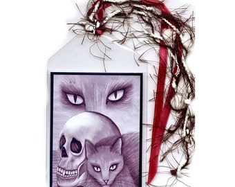 SALE Witch's Black Cat Bookmarker Vampire Skull Bookmark Gothic Cat Drawing Fantasy Cat Art Mini Bookmark Cat Lovers Gift