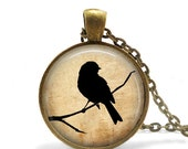 Parchment Bird Pendant, Necklace or Key Chain - Choice of 4 Setting Colors