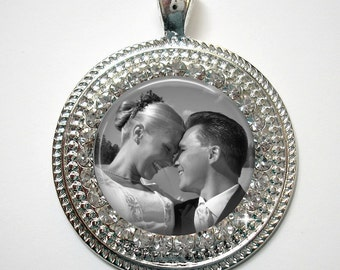 Custom Photo Pendant, Necklace or Key Chain with Rhinestone Border - Personalized Pendant, Necklace or Key Chain - Bling