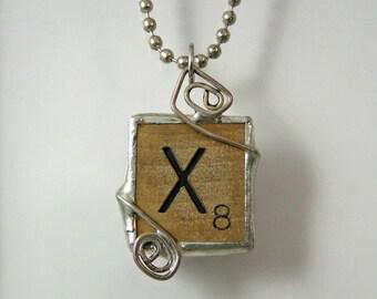 Scrabble Letter X Pendant Necklace