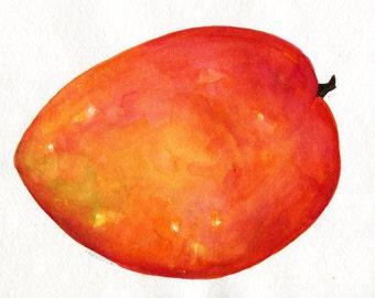 Mango watercolor Painting Original 8 x 10 fruit artwork. kitchen, food art, mango original watercolor painting, tropical fruit art
