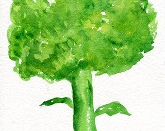 Broccoli watercolor painting original, vegetable watercolor painting, Food art, kitchen decor, broccoli original watercolor painting