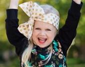 Headwrap, Girls Headwrap, Baby Headwrap, HeadWrap, Girls Headband, Big Bow Headwrap, Gold Polka Dots on Cream - GLITZ & GLAM DOTS
