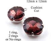 Garnet Red Glass Beads, Cushion Cut, Octagon, Silver Plated Brass Settings, 12mm x 12mm, Cabochon, Rhinestones, Maroon, Glass Gems, One Pair