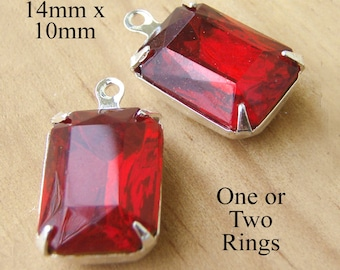 Ruby Red Glass Beads, Silver Plated Brass Settings, 14mm x 10mm, Octagon, Rhinestone Jewels, Cabochon, Glass Gems, Set Stones, One Pair