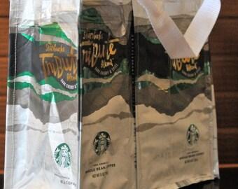 Recycled Tote Bag Starbucks Coffee Bean Bag -  Tribute #119