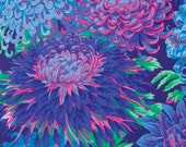 Japanese Chrysanthymum in BLUE, green, pink,purple 1/2 yd PWPG041 Phillip Jacob fabric, Kaffe Fassett fabric, cotton quilting fabric,