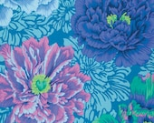 BROCADE PEONY in AQUA Blue.1/2 yard PWPJ062 by Phillip Jacobs,  Quilting Cotton, Craft and Apparel fabric