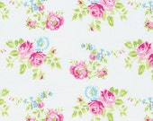 ZOEY Rose in WHITE, PINK Roses /PWTW119 Zoey's Garden byTanya Whelan Fabric /- 1 Yard Cotton Quilting Fabric