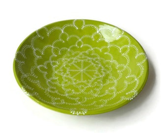 Large Serving Bowl with Doodle Design Apple Green and White
