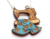 Sewing Machine Necklace- Wood laser cut illustration embroidered hand painted - blue