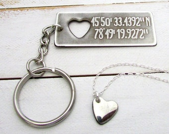 GPS Coordinates Key Ring | Heart Necklace | Couples Gift | Engagement Jewelry | Honeymoon Memento | Eriadesignstoo