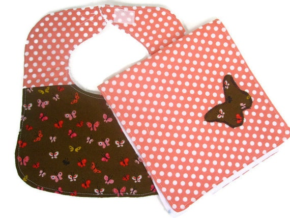 Butterflies and Dots Baby Bib and Burp Cloth Set, Baby Shower Gift, Baby Girl Gift, Infant Bib