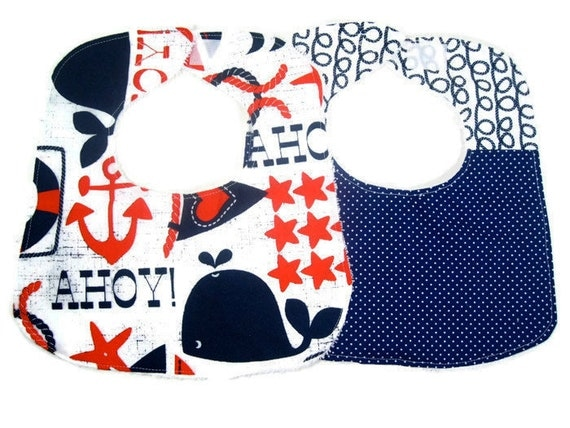 Ahoy Matey Navy Blue Bib Set, Baby Boy Bib Set, Baby Accessories, Blue Bibs - Set of 2