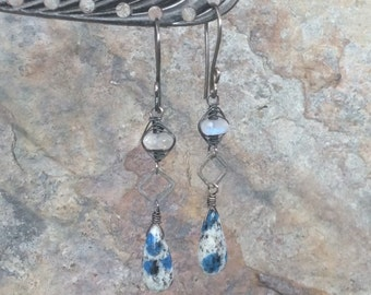 K2 AGATE and MOONSTONE earrings, woven jewelry, sterling silver dangle earrings, handmade artisan Angry Hair Jewelry