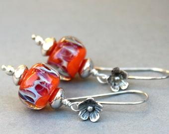 Orange Lampwork Earrings, Glass Earrings, Sterling Silver Earrings, Dangle Earrings, Boro Earrings