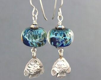 Fish Earrings, Sterling Silver Fish Charm, Blue Lampwork Earrings, Ocean Earrings