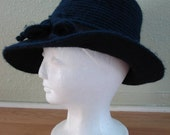 Vintage 1960s Hat Navy Blue Wool Fedora Crushable Mod 2012542