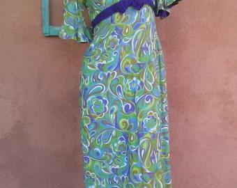 Vintage 1960s Paisley Dress Empire Waist Juliette Style 60s Maxi US 6 B36 W27
