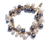 14k Goldfill Grey and White Pearl Cluster Bracelet
