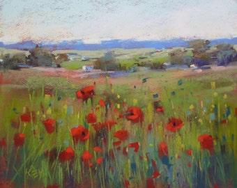 Original Pastel Painting Poppy Meadow in FRANCE Landscape 8x10 by Karen Margulis psa