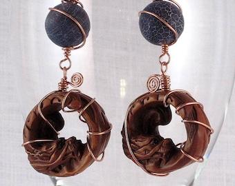 Ouroboros Dragon Ojime Earrings