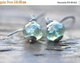 CLOSING SALE Moss Aquamarine Earrings Sterling Silver Stormy Green Aquamarine Jewelry Green Earrings Green Gemstone Jewelry Gift for Her