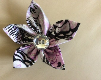 Pink Silver Black Fabric Flower Brooch