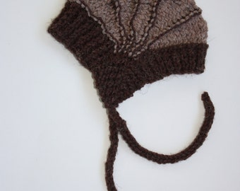 The Aviatrix Baby Hat.  Shades of Brown 6 to 12 months