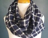 Navy plaid infinity snap scarf
