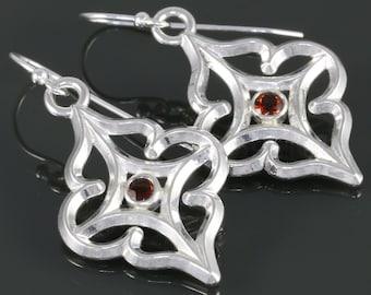 Fire Citrine Earrings. Sterling Silver. Arabesque Filigree. Genuine Gemstone. November Birthstone. f16e008