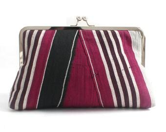 Clutch purse, evening bag, African clutch, Aso-oke, Woven African textile, Frame clutch, Striped clutch, Magenta clutch purse, Kiss lock bag