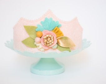 Girls FIRST birthday // Flower CROWN // Floral Play Crown// Blush, GOLD and Teal Flowers//