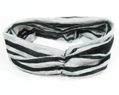 Black Headband - Yoga Runner Athletic gray & black stripe