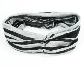 Black Headband - Yoga Runner Athletic gray & black stripe