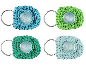 Keychain Coin Holders, set of 4, keychain coin purses, small coin purses, cute keychains, blue green keychains, coin keychains, small gifts