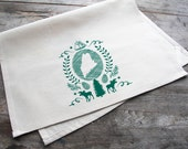 Hand-Printed Maine State Cotton Tea Towel with hanging loop, pine, made in the USA, gift, housewarming, hostess, kitchen towel, silkscreen