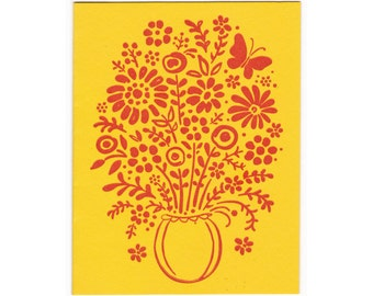 set of five greeting cards: Buncha Flowers floral bouquet letterpress greeting cards