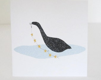 Christmas Card: Swan with a String of Stars