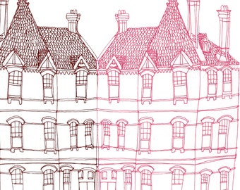 Square Greeting Card: Victorian House in Pink and Brown